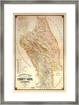 Napa Valley Map 1895 Framed Print by Jon Neidert