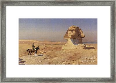 Napoleon Bonaparte Before The Sphinx Framed Print by Photo Researchers
