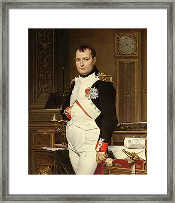 Napoleon Bonaparte In His Study Framed Print by Jacques Louis David