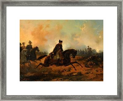 Napoleon Embarking At Waterloo Framed Print by Hippolyte Bellange