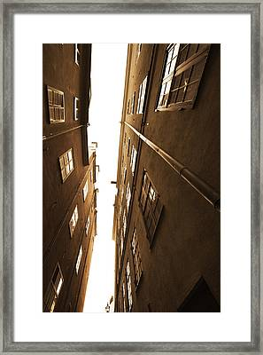 Narrow Alley Seen From Below - Sepia Framed Print by Ulrich Kunst And Bettina Scheidulin