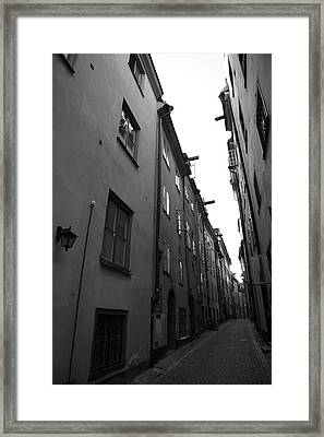 Narrow Medieval Street In Gamla Stan - Monochrome Framed Print by Ulrich Kunst And Bettina Scheidulin