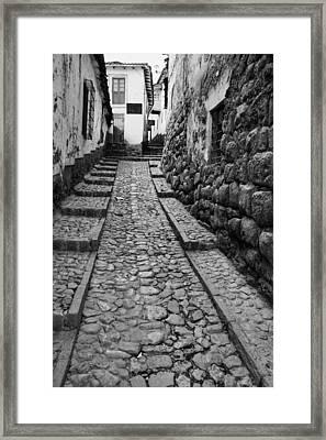 Narrow Street In Cusco Framed Print by Alexey Stiop