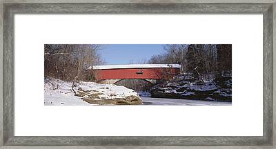 Narrows Covered Bridge Turkey Run State Framed Print by Panoramic Images