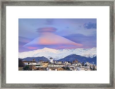 Nasa Apod Cap Cloud Over The Sierra Nevada Framed Print by Guido Montanes Castillo