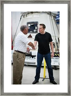 Nasa-spacex Leaders Framed Print by Nasa/bill Ingalls
