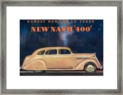 Nash 400 - Vintage Car Poster Framed Print by World Art Prints And Designs