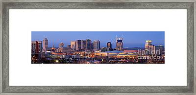 Nashville Skyline At Dusk Panorama Color Framed Print by Jon Holiday