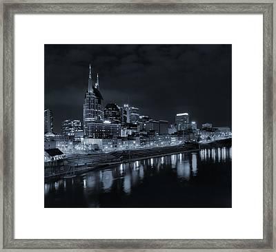 Nashville Skyline At Night Framed Print by Dan Sproul
