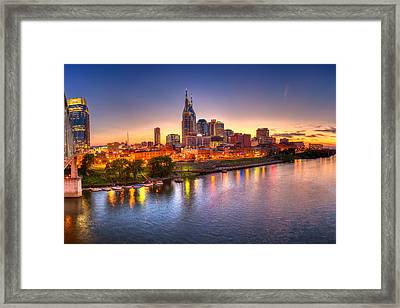 Nashville Skyline Framed Print by Brett Engle