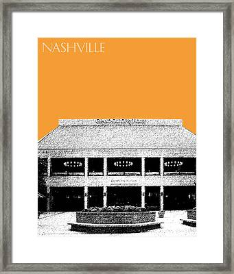 Nashville Skyline Grand Ole Opry - Orange Framed Print by DB Artist