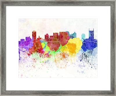 Nashville Skyline In Watercolor Background Framed Print by Pablo Romero