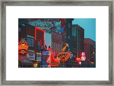 Nashville Strip Lit Up Framed Print by Dan Sproul