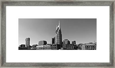 Nashville Tennessee Skyline Black And White Framed Print by Dan Sproul