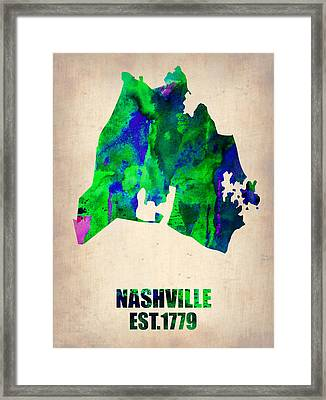 Nashville Watercolor Map Framed Print by Naxart Studio