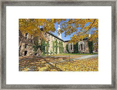 Nassau Hall With Fall Foliage Framed Print by George Oze