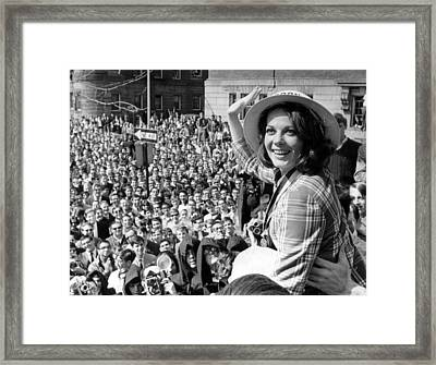 Natalie Wood Waving To Fans Framed Print by Retro Images Archive