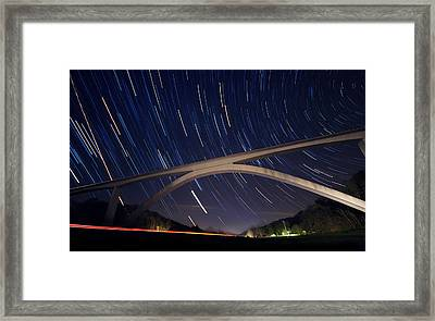 Natchez Trace Bridge At Night Framed Print by Malcolm MacGregor