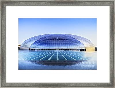 National Centre For The Performing Arts Beijing China Sunset Framed Print by Colin and Linda McKie