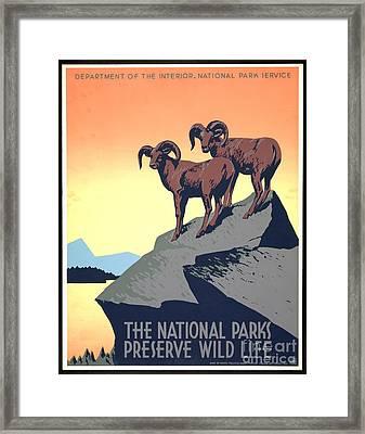 National Parks Poster 1939 Framed Print by Padre Art