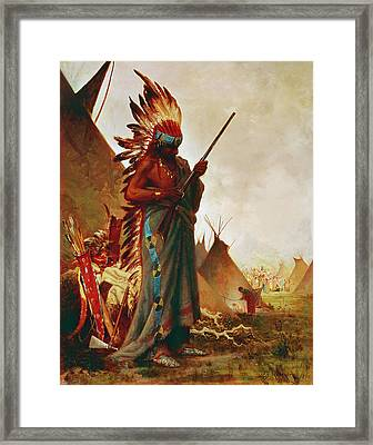 Native American And Rifle Framed Print by Granger
