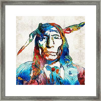 Native American Art By Sharon Cummings Framed Print by Sharon Cummings