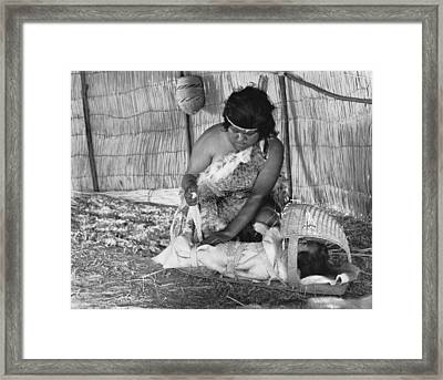 Native American Baby Cradle Framed Print by Underwood Archives Onia