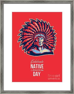 Native American Day Celebration Retro Poster Card Framed Print by Aloysius Patrimonio