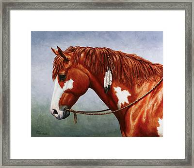 Native American Pinto Horse Framed Print by Crista Forest