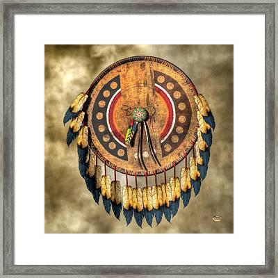 Native American Shield Framed Print by Daniel Eskridge