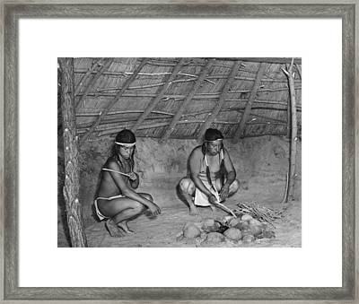 Native American Sweat Lodge Framed Print by Underwood Archives Onia
