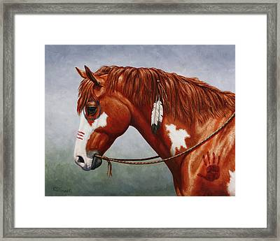 Native American War Horse Framed Print by Crista Forest