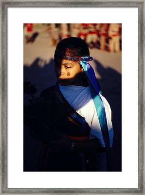 Native Girl In Costume Framed Print by Mark Goebel