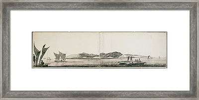 Native Tribal Peoples In Boats And Canoes Framed Print by British Library