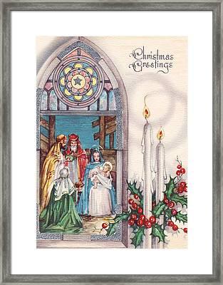 Nativity And Candles Framed Print by Munir Alawi