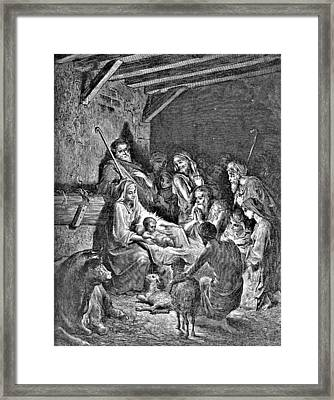 Nativity Bible Illustration Engraving Framed Print by