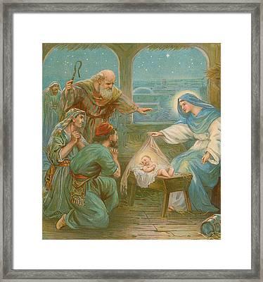 Nativity Scene Framed Print by English School