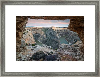 Natural Arch In Bighorn Canyon Framed Print by Leland D Howard