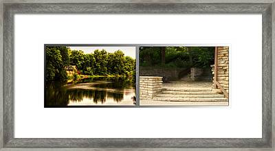 Nature Center 01 Flagstone Patio Fullersburg Woods 2 Panel Framed Print by Thomas Woolworth