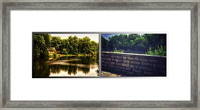 Nature Center 01 Flagstone Wall Fullersburg Woods 2 Panel Framed Print by Thomas Woolworth