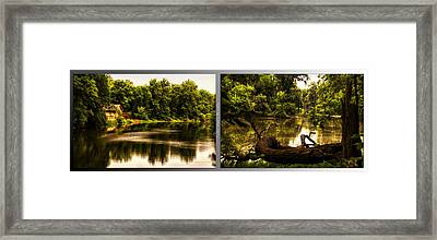 Nature Center 01 Natural Seating Fullersburg Woods 2 Panel Framed Print by Thomas Woolworth