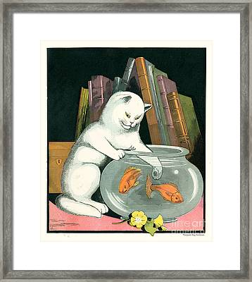 Naughty Cat Fishes For Goldfish In Fish Bowl Framed Print by Pierpont Bay Archives
