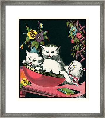 Naughty Cats Play In Antique Pink Bowl With Book And Sweet Williams Flowers Framed Print by Pierpont Bay Archives