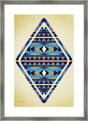 Navajo Blue Pattern Aged Framed Print by Christina Rollo