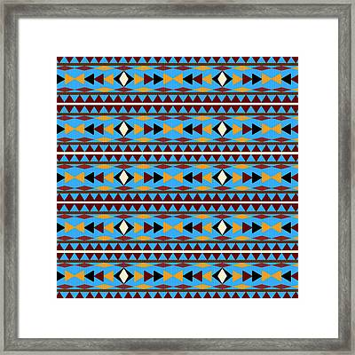 Navajo Blue Pattern Framed Print by Christina Rollo
