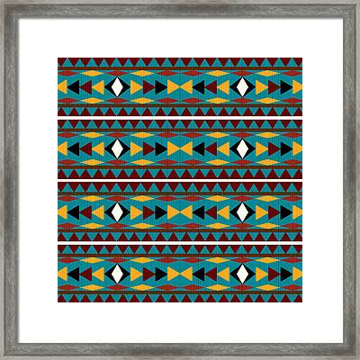 Navajo Teal Pattern Framed Print by Christina Rollo