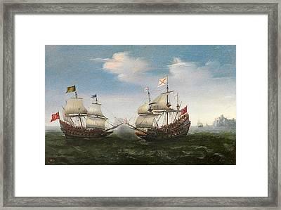 Naval Combat Off A Rocky Coastline Framed Print by Hendrik Cornelisz Vroom