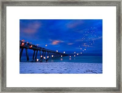 Navarre Beach Fishing Pier - Night Landscape Framed Print by Eszra Tanner