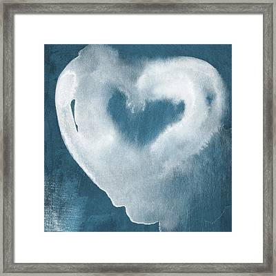 Navy Blue And White Love Framed Print by Linda Woods