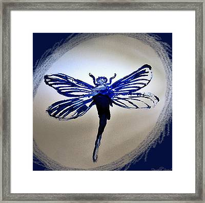 Navy Dragonfly Alcohol Inks  Framed Print by Danielle  Parent